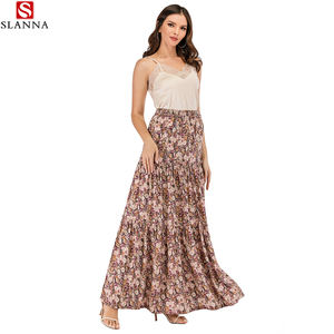 Slanna OEM Wholesale Custom Fashion Maxi Elastic Waist Ladies Boho Printed bohemian long Women's layered floral chiffon skirt