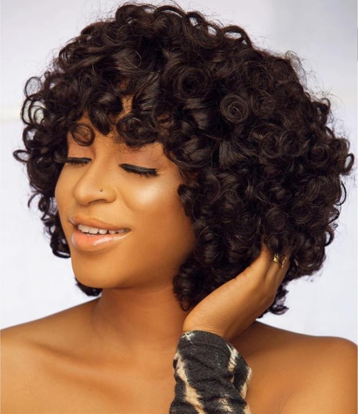 12a Virgin Hair Super Double Drawn Raw Curly Wig Fringe Short Curly Human Hair Wig With Bangs For Black Women