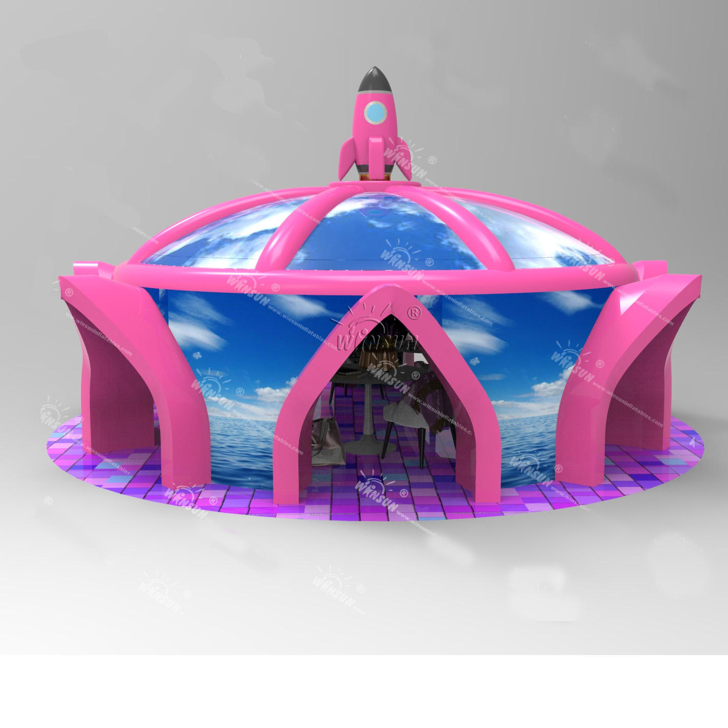 New design rocket inflatable dome camping tent, inflatable yurt tent with doors