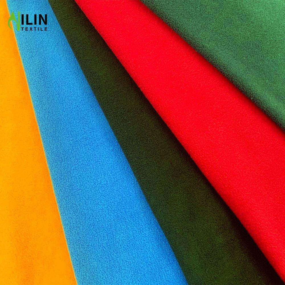 Cheap micro polar fleece two sided brushed antipiling jacket fabric