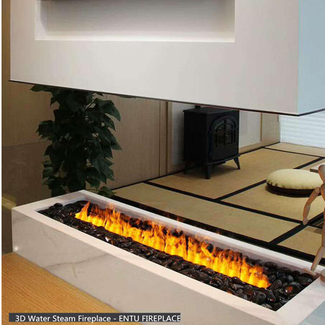 3D water vapor fireplace with black marbles