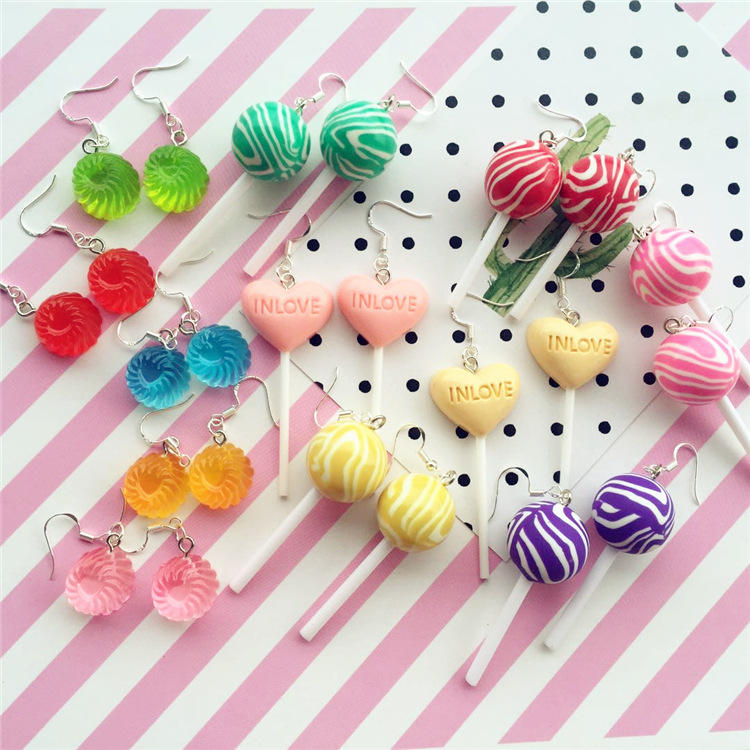 Kawaii Simulation 3D Lollipop Dangle Earrings Candy Polymer Clay Cabochons Flatback Earring For Women Cute Birthday Gift