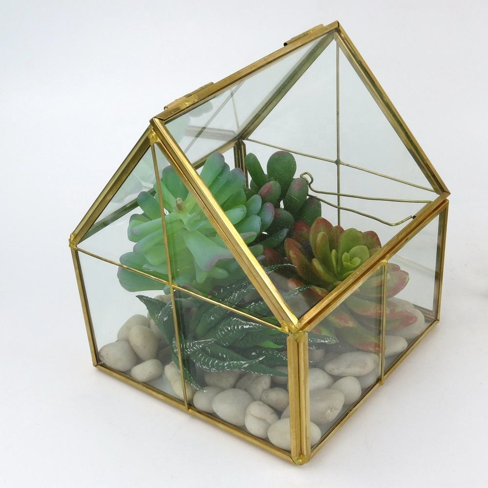 Multi-colored Geometric stained Glass Terrarium Glass Container for Decoration or Plant