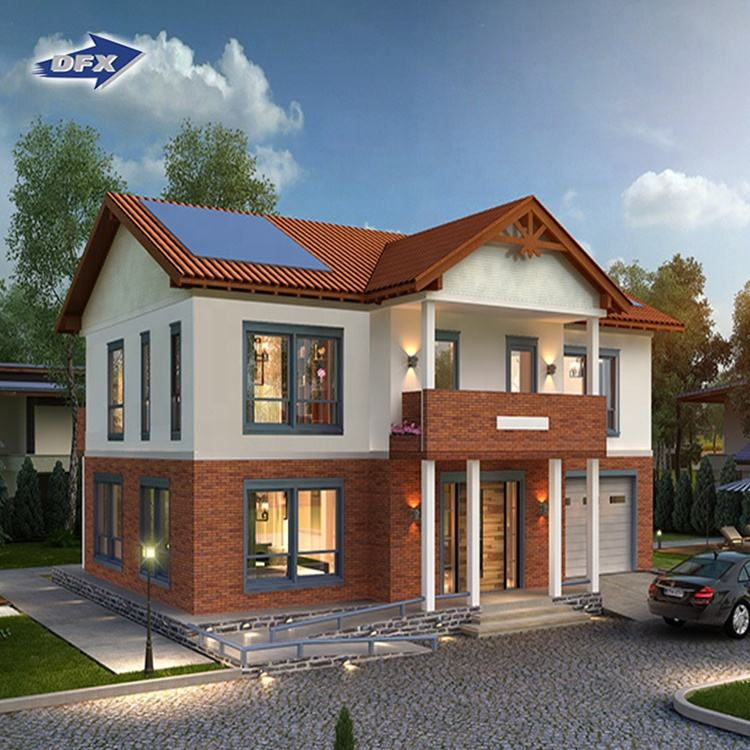 Hot sale 2 story luxury homes low cost light steel frame prefab house prefabricated house malaysia for sale