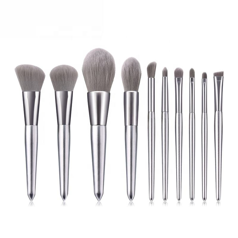 Miyaup silver handle make up brush with pouch gray synthetic hair makeup brush set