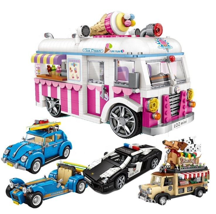 Loz Educational small Bricks mini Vehicle Assemble model Hot dog shop ice cream truck police car Legoed building blocks for kid