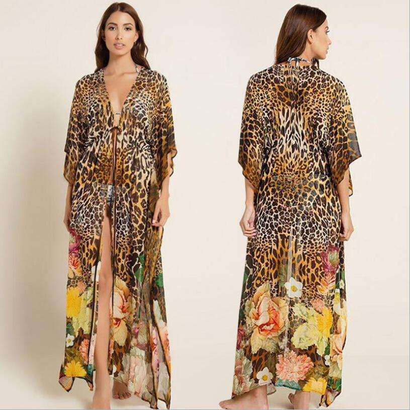 Chiffon Summer casual Split V neck long beach dress Leopard Swimwear Coverups 2021 for women Summer
