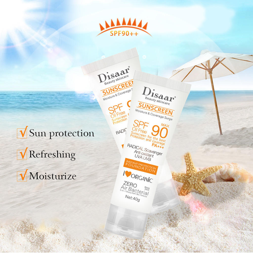Private Label Natural Sunscreen Cream Face Skin Care Whitening Sunblock Sun Screen Lotion SPF90 PA+++