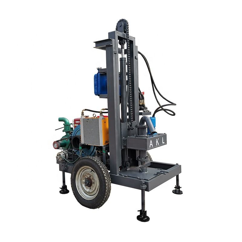 Top drive AKL-150Y diesel engine hydraulic portable water well drilling rig