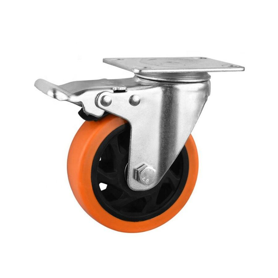Low noise 4 inch orange pvc swivel caster wheel heavy duty quality universal wheel with brake