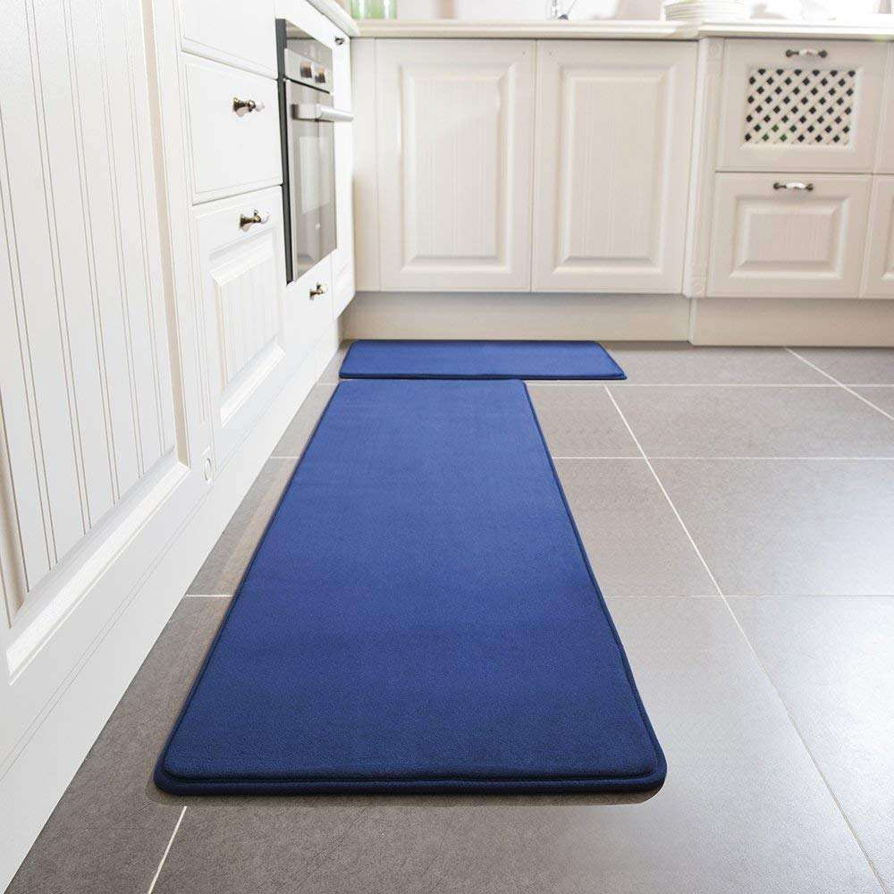 Flannel non slip washable water absorbent soft stand thick kitchen floor mat