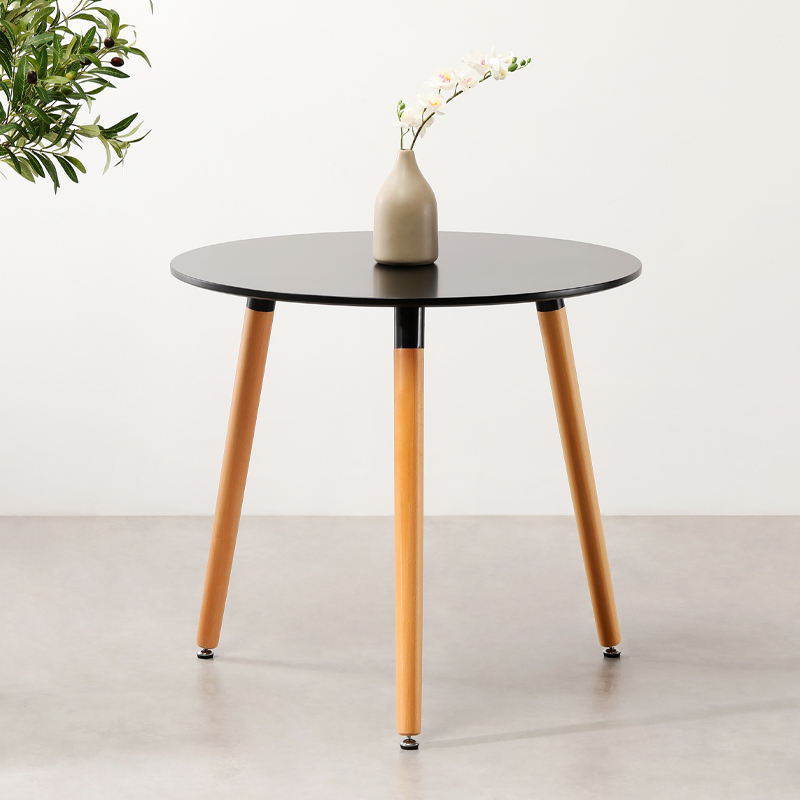 Free sample home Furniture wholesale MDF round modern dining room table with beech wood legs