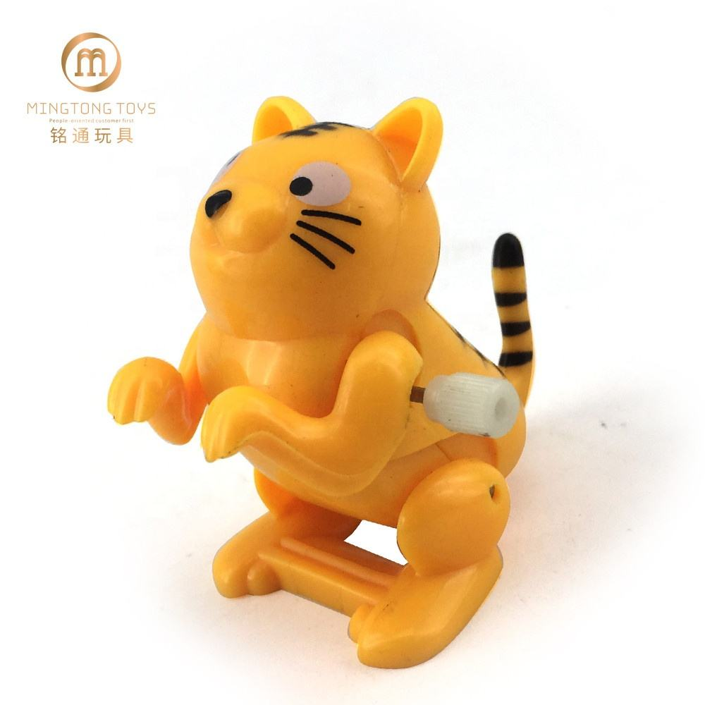 Mini Plastic Tiger Somersault Jumping Wind Up Toys Animal For Kids
