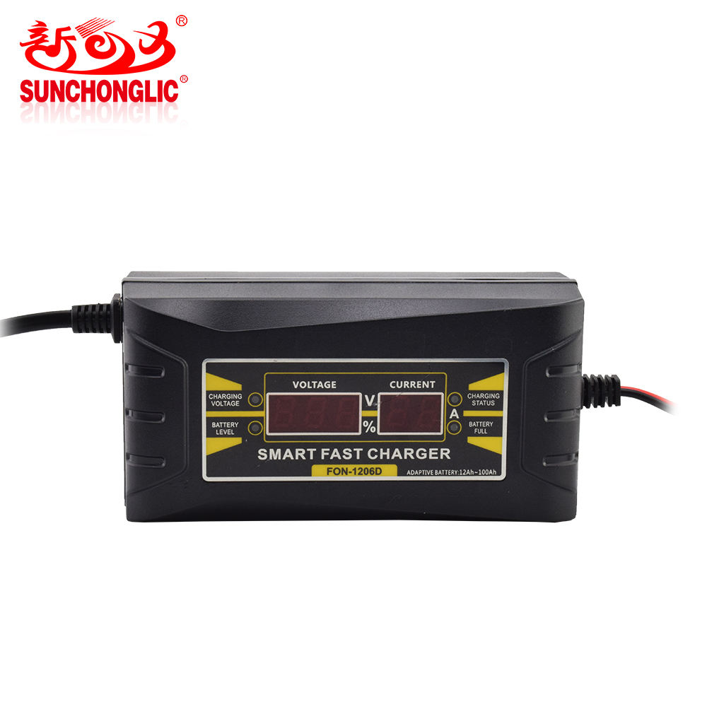Sunchonglic LED display 12V 6A Drie Fase opladen modus lood-zuur automatische auto batterij oplader