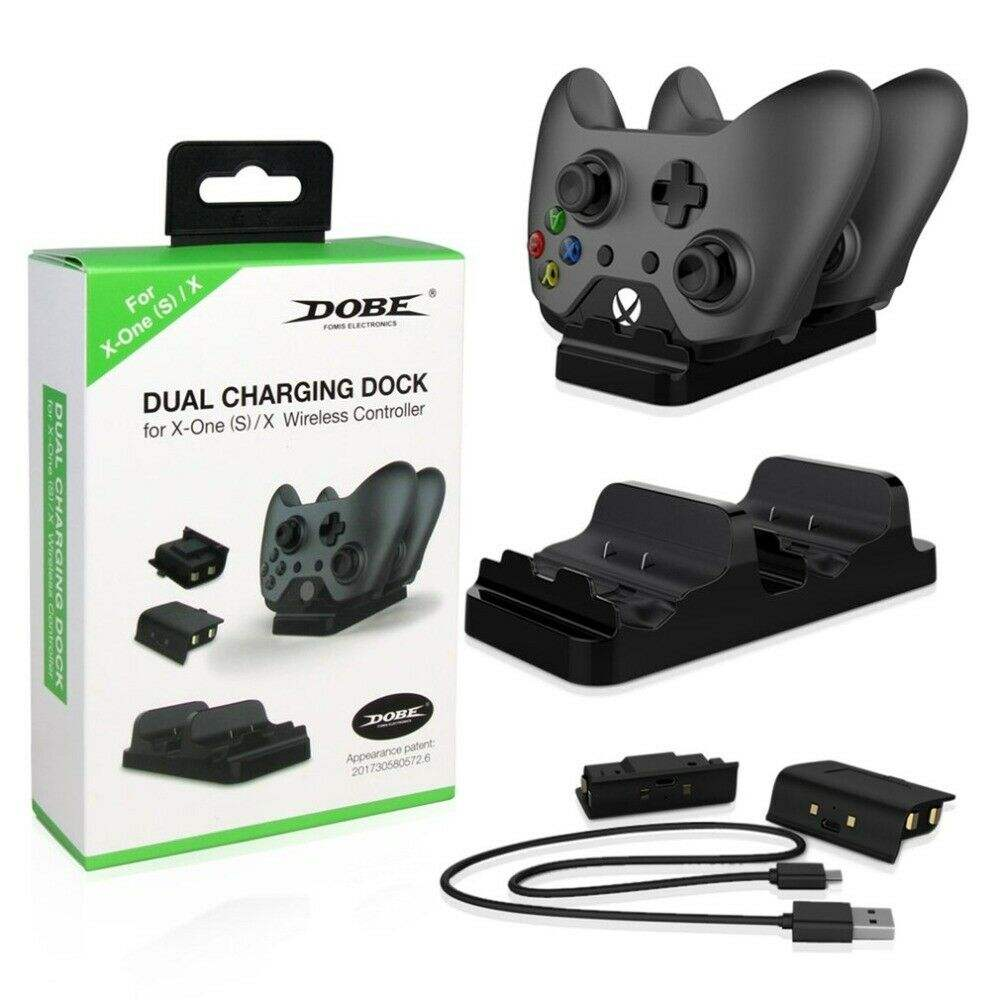 Dobe Double Station <span class=keywords><strong>De</strong></span> Charge <span class=keywords><strong>Chargeur</strong></span> pour Manette XBOX ONE avec 2 pièces Piles Rechargeables