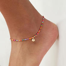 Fashionable alloy shell rice bead anklet colorful beaded anklet women