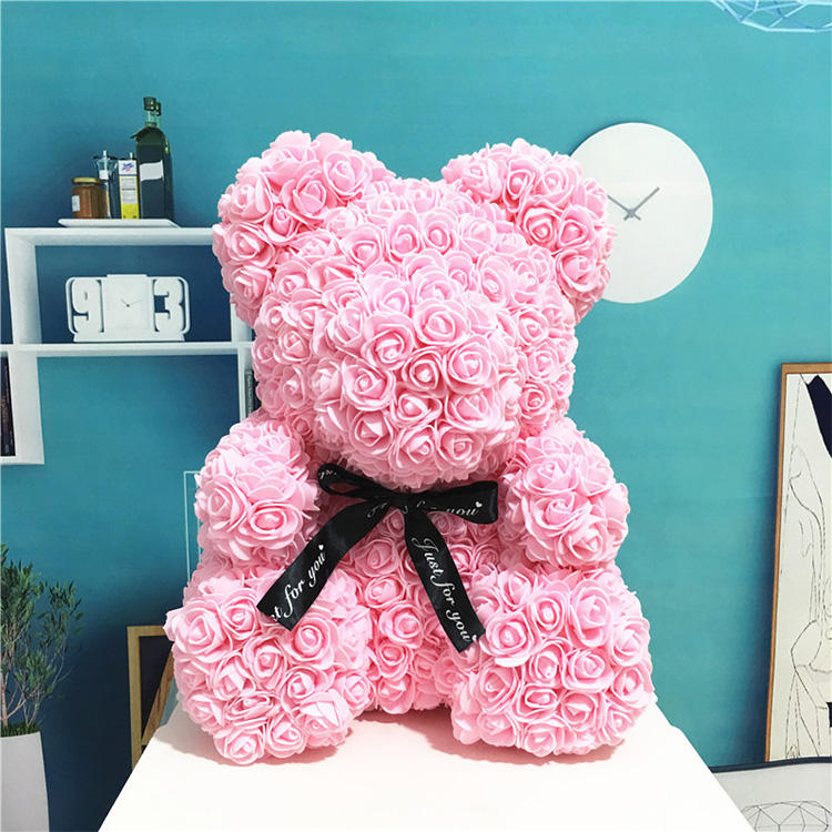 Plush Teddy Bear [ Teddy Bear ] Bear Valentine's Day Gift Wholesale Flowers 25cm 40cm Red Rose Foam Plush Teddy Bear Rose Gifts