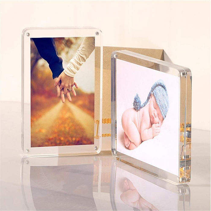 Crystal <span class=keywords><strong>4x6</strong></span> 5x7 Lucite Magnetische Frame <span class=keywords><strong>Acryl</strong></span> Fotolijst met Ronde Hoek