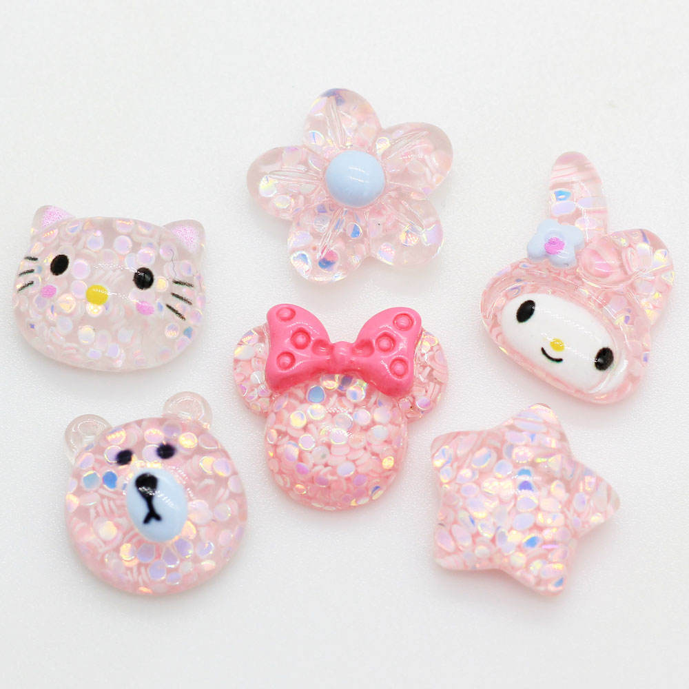 Assorted of Pink Glitter CabochonsDIY Kawaii Jewelry Pendants Animal Flatbacks Cartoon Bear Cat Flower Star Rabbit Mouse Sparkle