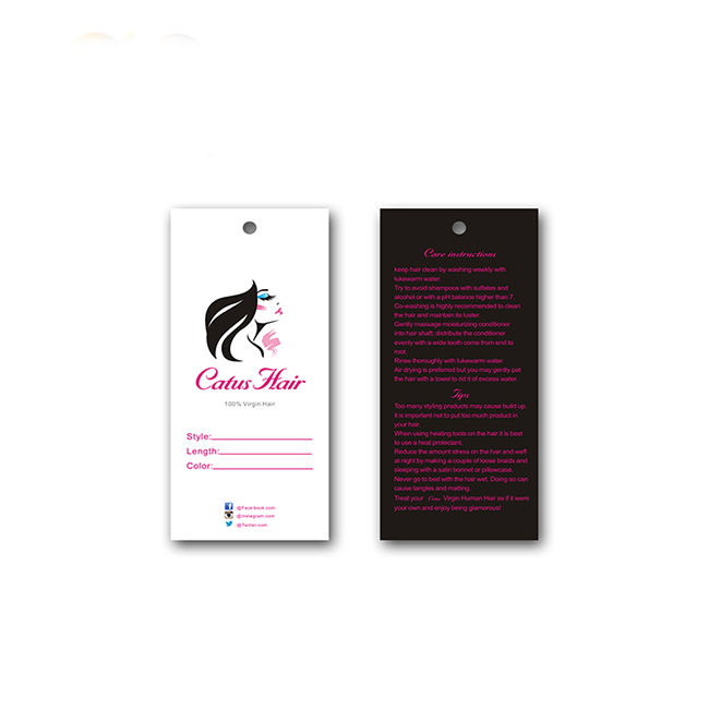 Personal logo printed own design hair extension custom hand tag with care instructions