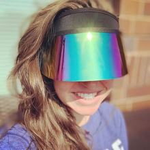 New Design Neoprene UV Protection Plastic Sun Visor Cap hats with Different Color Swingable Lens.