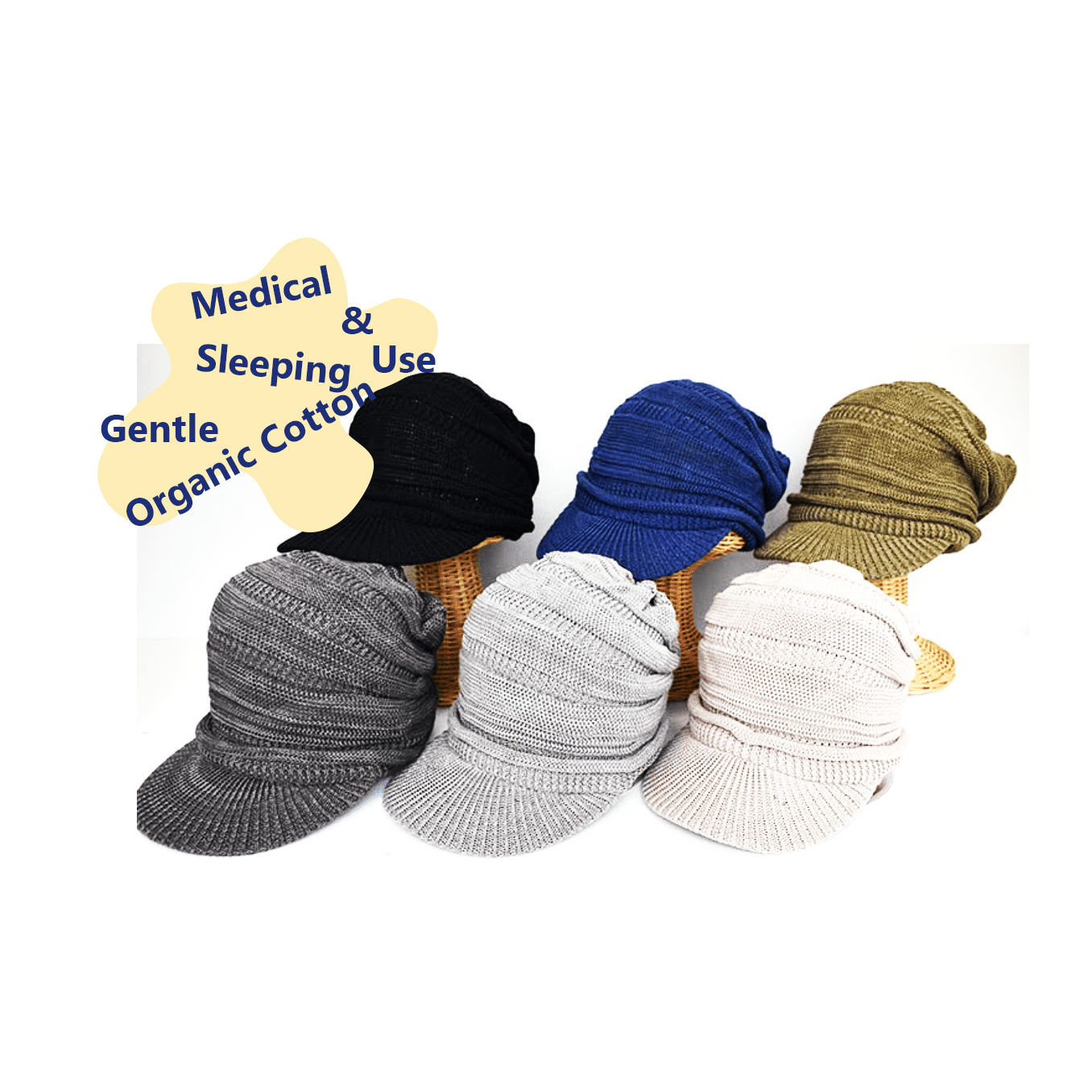Organic Cotton Knitting kunt Casquette, Cute Hats Japan made