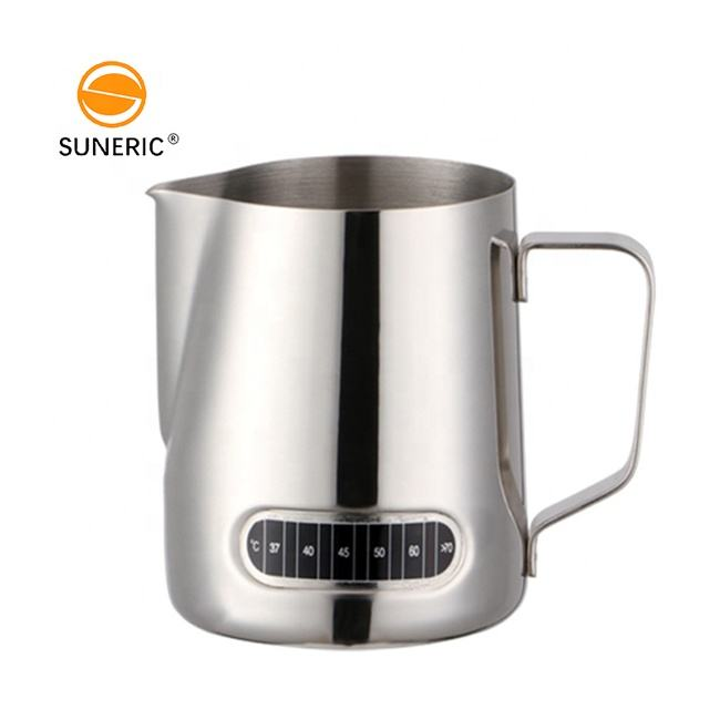 Custom stainless steel espresso coffee latte milk frothing pitcher jug temperature display color milk pitcher