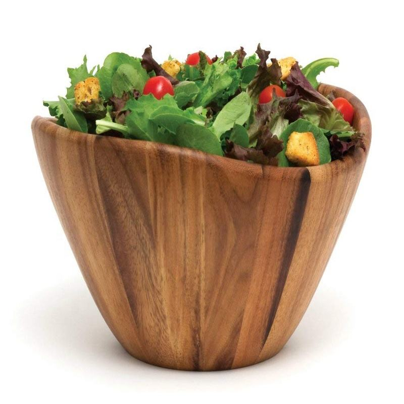 Generously Size Acacia Serving Wooden Salad Bowl with a Contemporary Wave Design for Fruits or Salads, 12