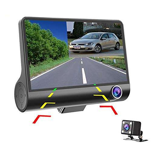 3 Lens FHD 1080P Car Dash Cam 4 inch Car DVR Dash Streaming Media Driving Recorder Car Camera Dual Cam