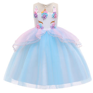 Wholesale Baby cloth Kids Unicorn Ball gown Frock Design Girl Party Dresses DJS006