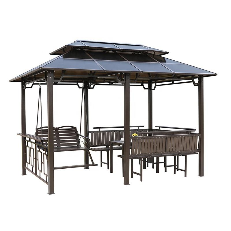 UV-resistant Polycarbonate Double Roof Hardtop Gazebo Canopy with Mosquito Netting And Curtains ,Iron Garden Pavilion Gazebo