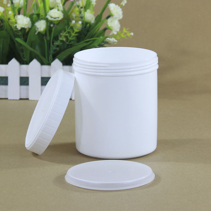 Plastic Storage Container Food Grade Nut Paint Glue Cosmetic Packaging Bottle Good Sealing White black Honey Cookie Jar With Lid