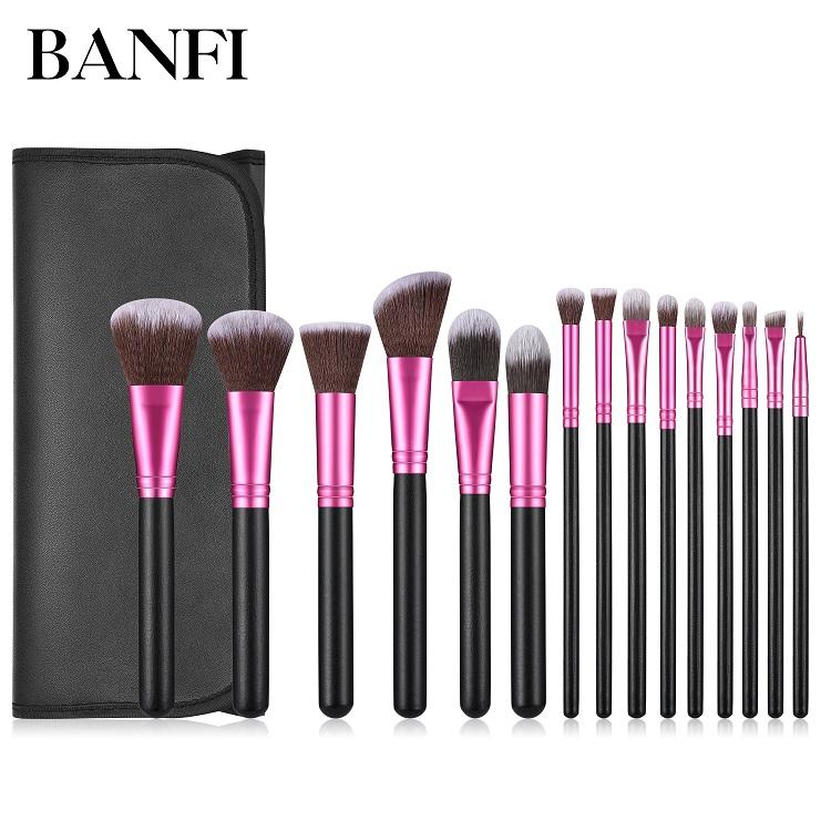 Banfi custom logo 15pcs rose red Ferrule makeup brushes wooden cosmetic brush set for women makeup use