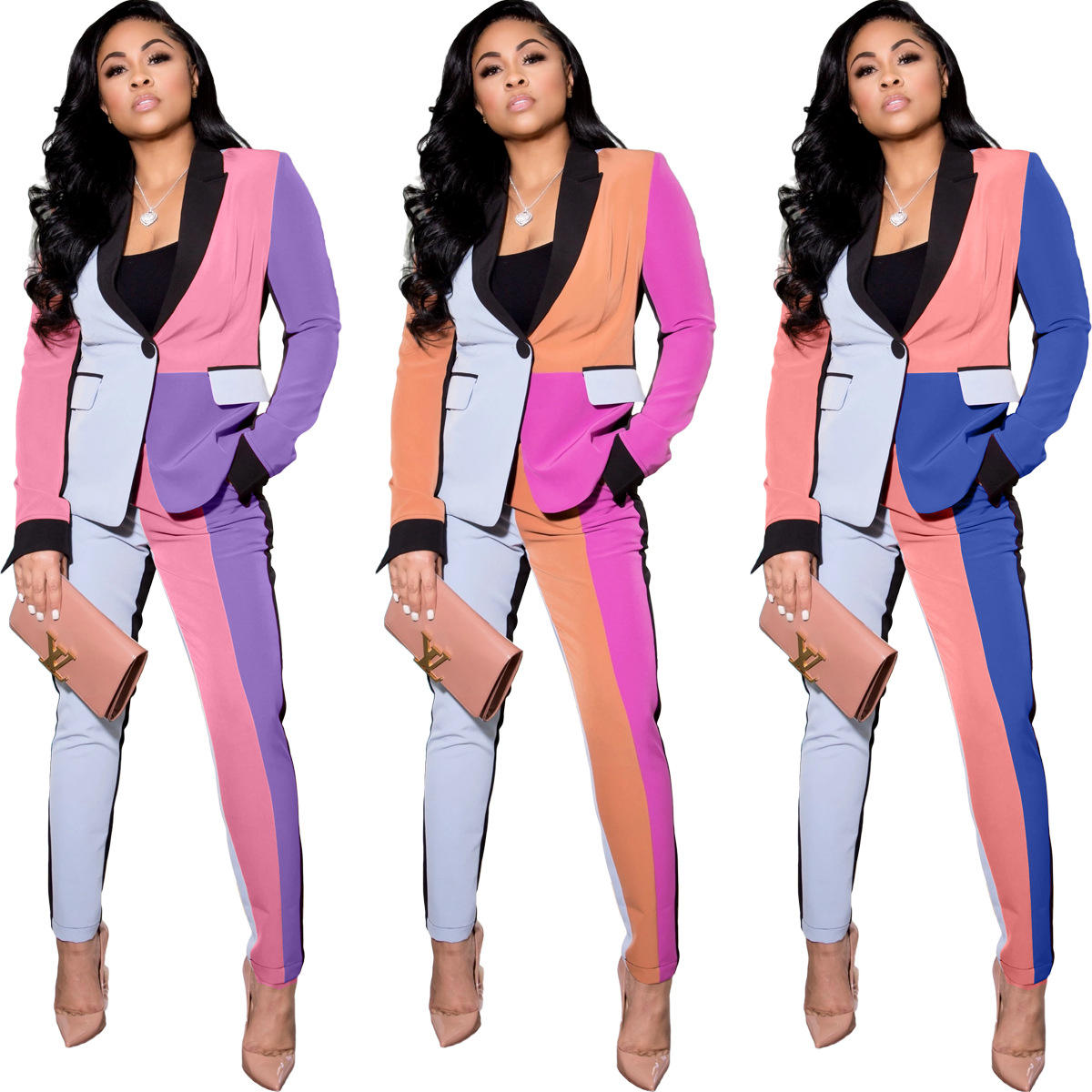 2021 New Women Colors Blocking Leisure Suit Sets Ladies Spring Leisure Fashion Straight Suit Low Price Women Candy Colors Blazer