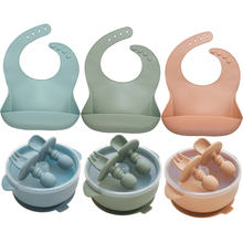 Modern Creative New Product Silicone Baby Bibs Solid Color Silicone Bowls Soft Silicone Spoon Fork