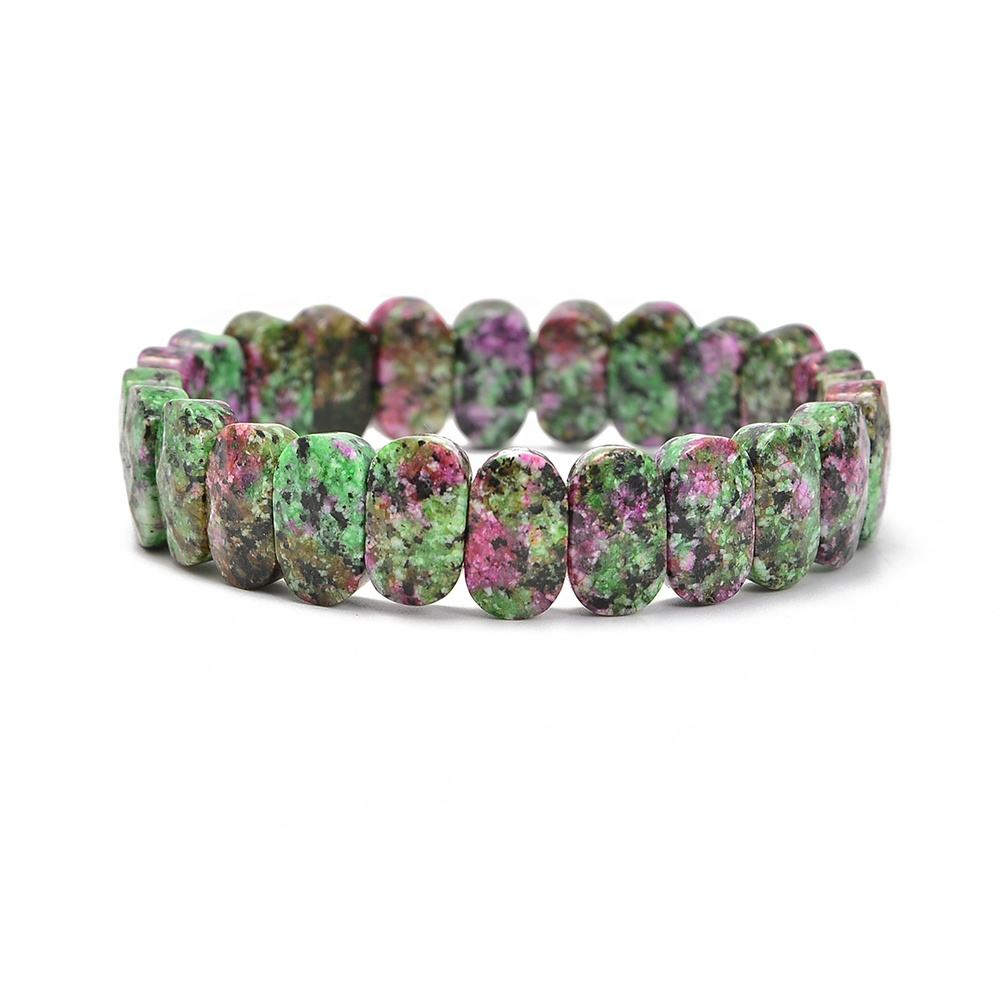 Gorgeous Synthetic Ruby Zoisite 7.5 Inch 8x14mm Faceted Oval Gemstone elastic beaded bracelet stone bangle bracelet
