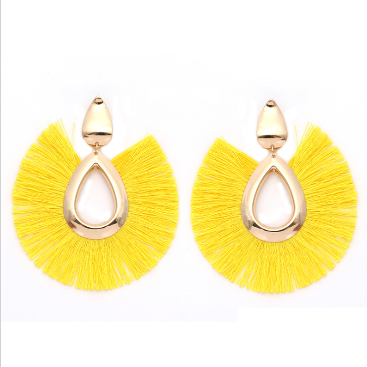 Latest cheap wholesale handmade alloy fashion womans exotic earrings vintage bohemian water drop-shaped tassel earrings
