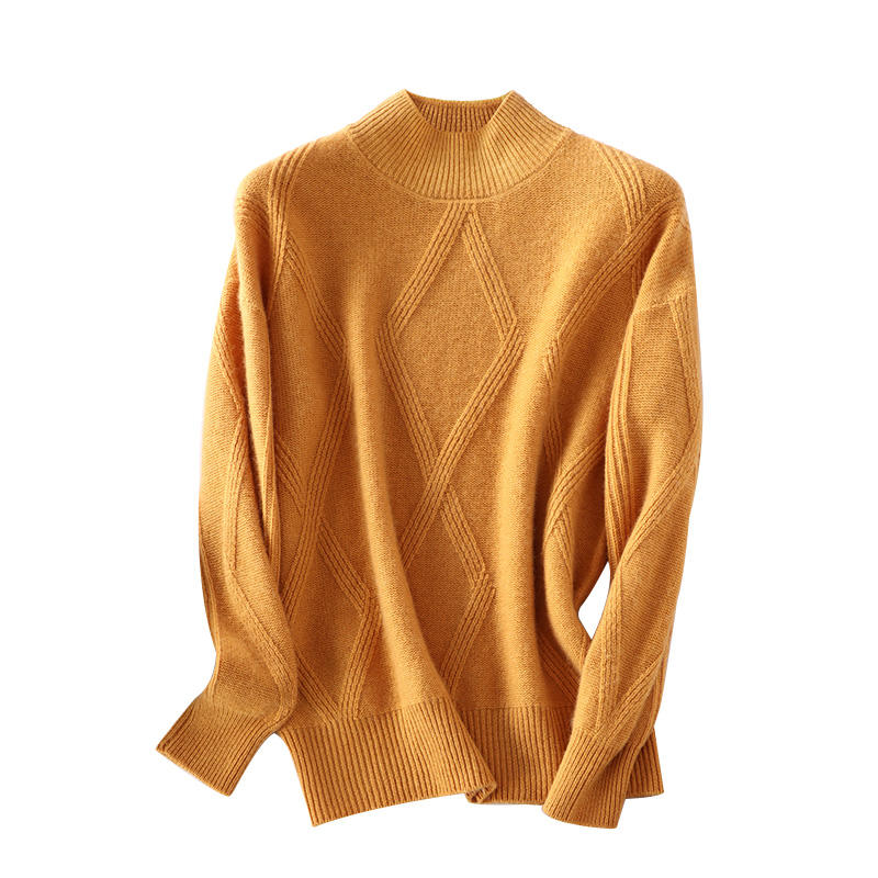 New pure cashmere sweater long sleeve half turtleneck pullover ladies sweater