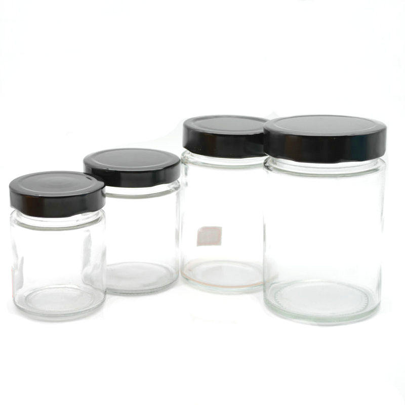 round food grade glass honey storage bottles jars food with metal lids