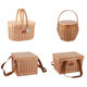 Foldable Basket Storage Wooden Picnic Basket ZHIQUAN Popular Round Wicker Foldable Picnic Basket Cooler Bag Set With Wood Lid Handle Storage Picnic Insulated Tote Basket