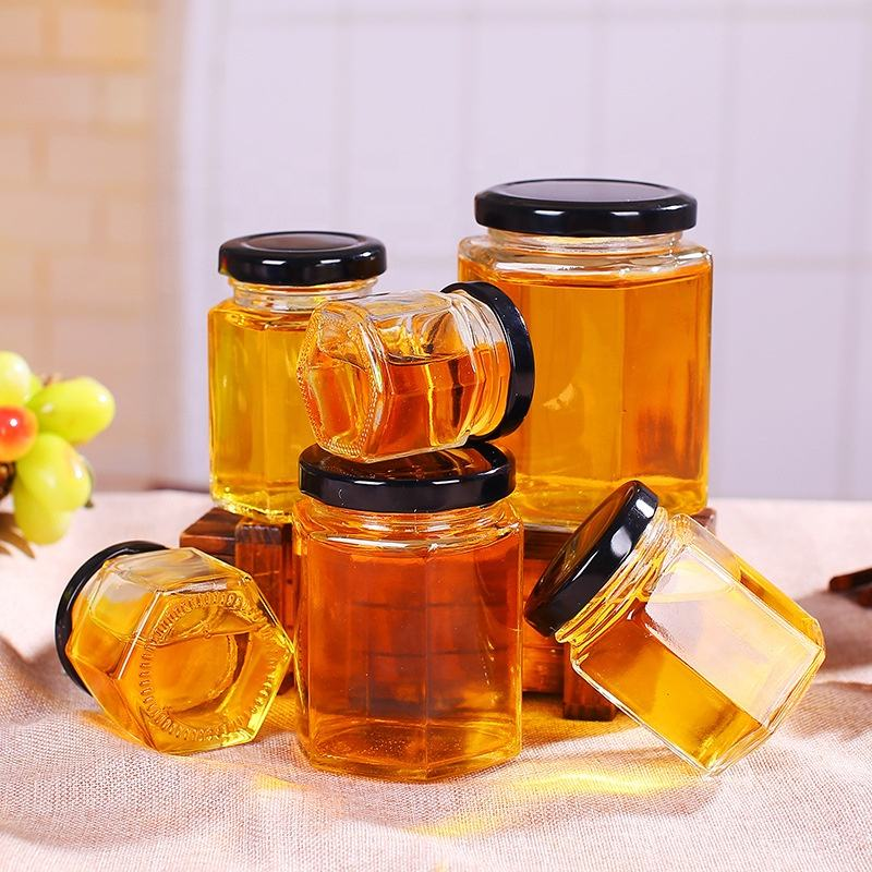 New Clear 500ml Unique Empty Hexagon Honey Glass Jars With Lid