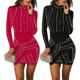 2020 new arrival Europe and the United States autumn and winter long sleeve dress women's fashion beaded sexy dress for ladies