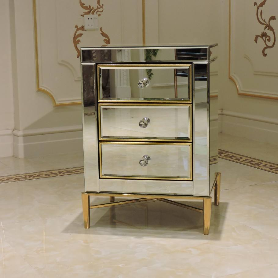 Luxury Hot Sale New Design Mirrored Bedside Table with Three Drawers Stainless Steel Mirrored Furniture Nightstand