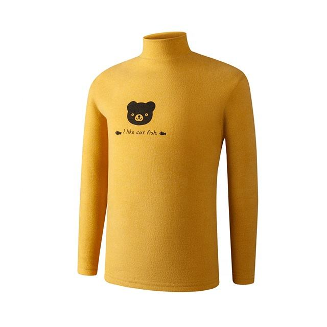 The Bear Pattern Long Sleeves Thermal T-Shirts For Kids Turtleneck Sleeves Sweashirt Winter Wear T-Shirt For Your Little Child