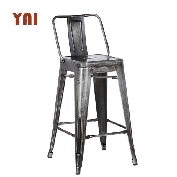 Short back French style wooden commercial modern kitchen bar counter metal industrial high bar stool chair