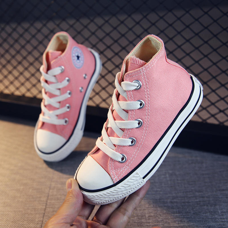 wholesale 12 colors popular casual high top pink canvas kids shoes