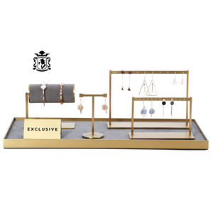 Luxury Style Gold Metal Earring Stand Jewelry Organizer Tray Suede Jewelry Display Set for Jewelry Store