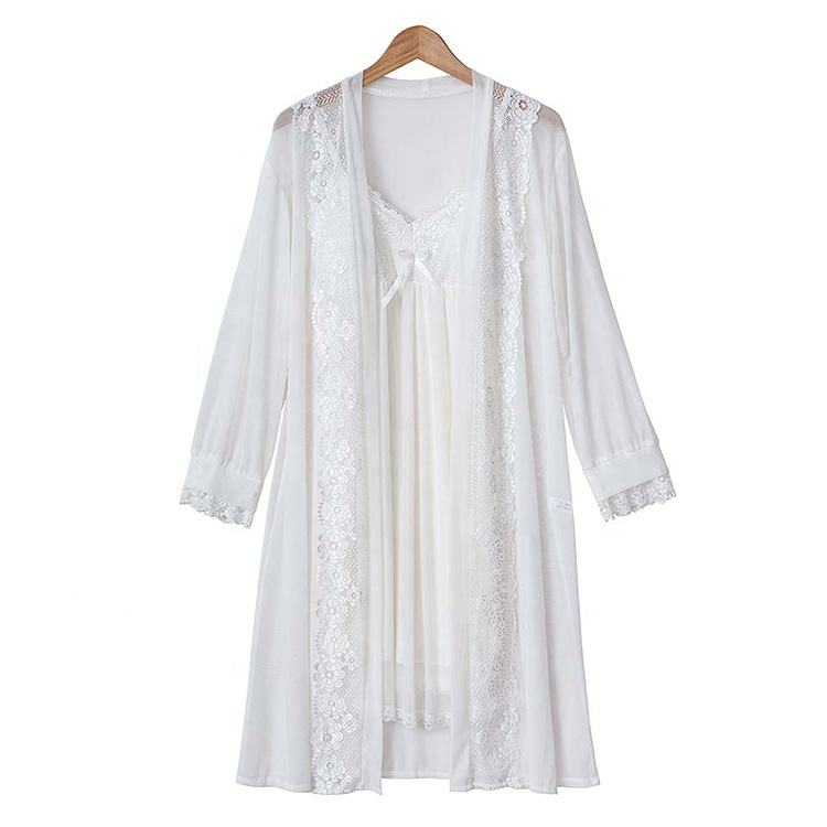 Fashion White Nightgown With Robe Solid Lace Transparent Night Gown Two Piece Suit Short Sleepwear