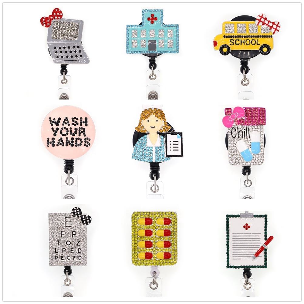 Retractable multi stile Nurse Life/Wash Your Hand/Yellow School Bus/Chill pille/krankenhaus strass ID Badge Holder reel