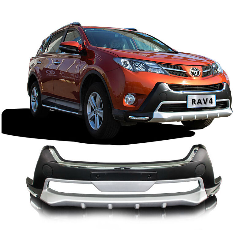 Fit For Toyota RAV4 RAV-4 2013-2015 Front+ Rear Bumper Diffuser Bumpers Lip Protector Guard skid plate ABS Chrome finish 2PES